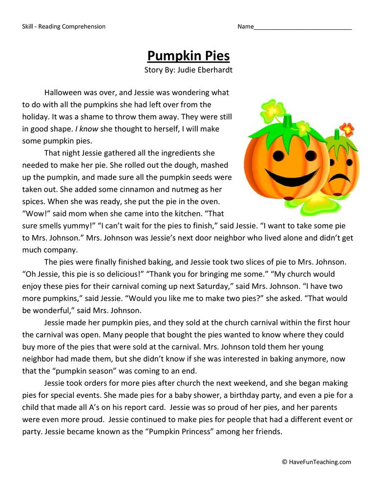Pumpkin Pies Reading Comprehension Worksheet