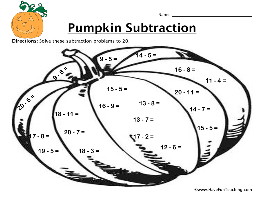 math worksheet : pumpkin subtraction worksheet  have fun teaching : Halloween Math Worksheets First Grade