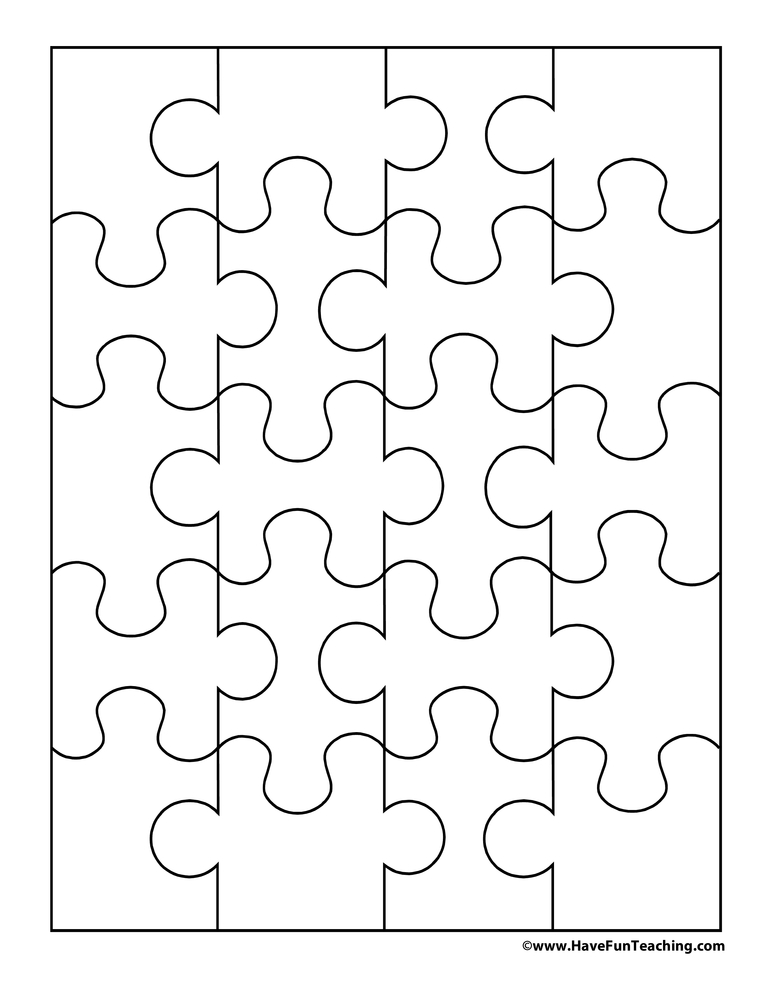 Playful image with blank puzzle pieces printable