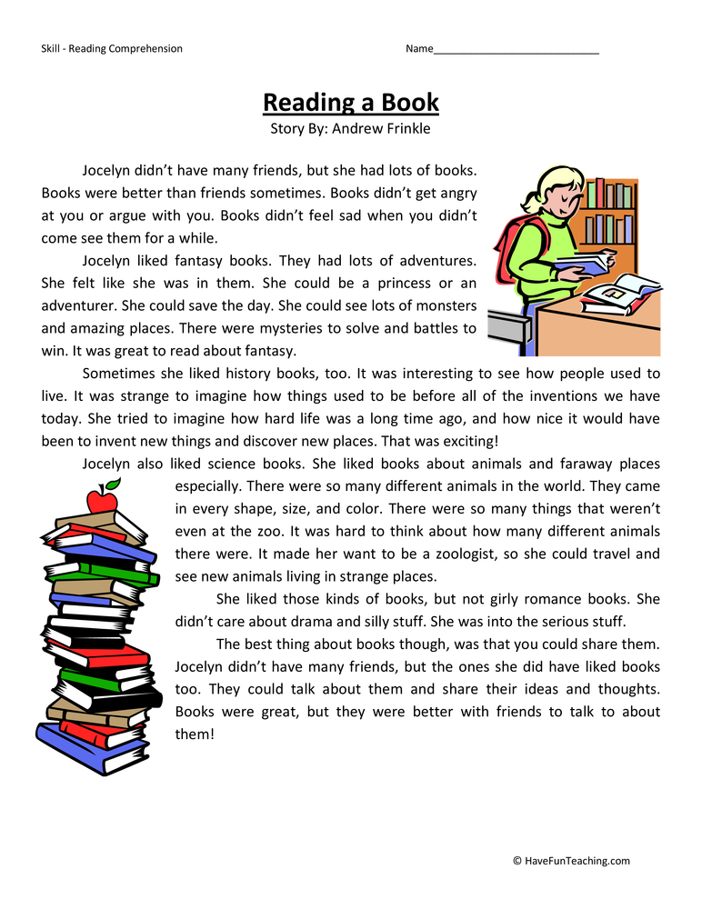 Reading a Book Reading Comprehension Worksheet