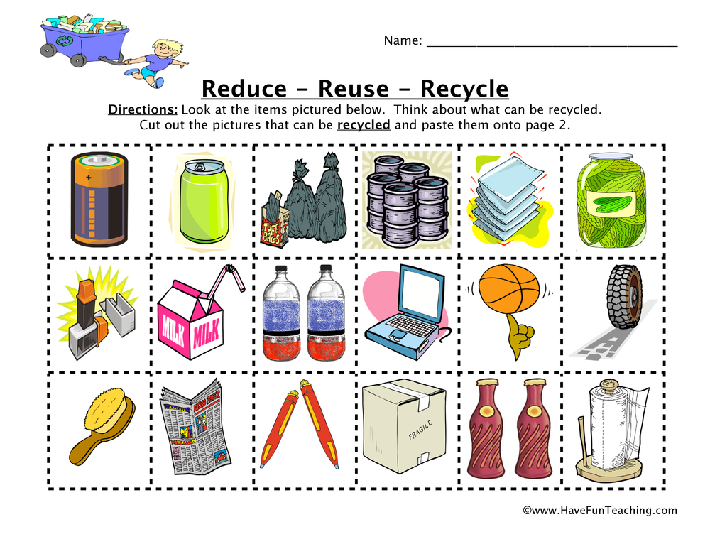 Worksheets Recycling For Kids Worksheets reduce reuse recycle worksheet have fun teaching worksheet