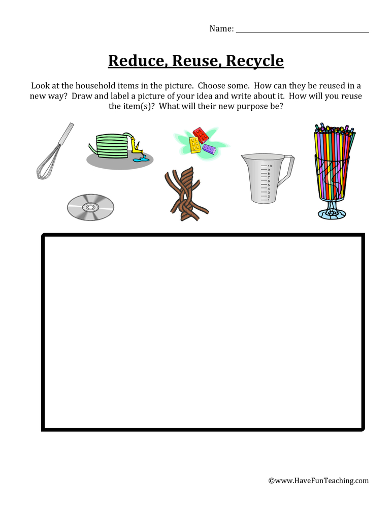 Reduce, Reuse, Recycle Items Worksheet
