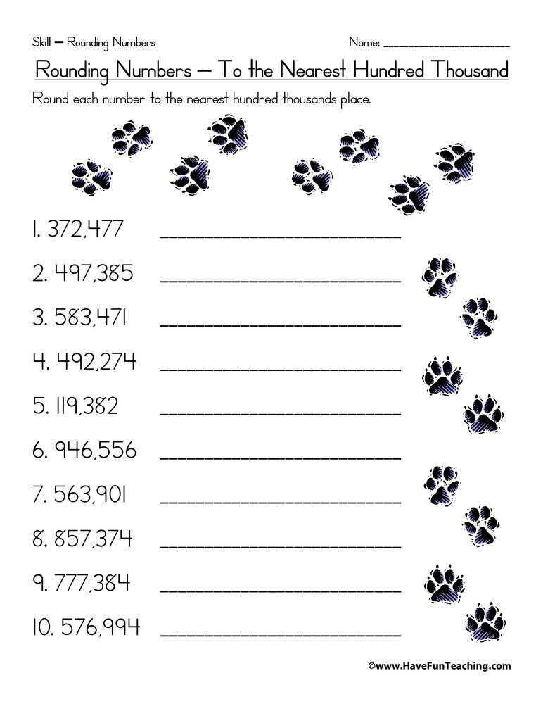 Printables Free Printable Rounding Worksheets rounding to the nearest hundred thousand worksheet have fun teaching thousand