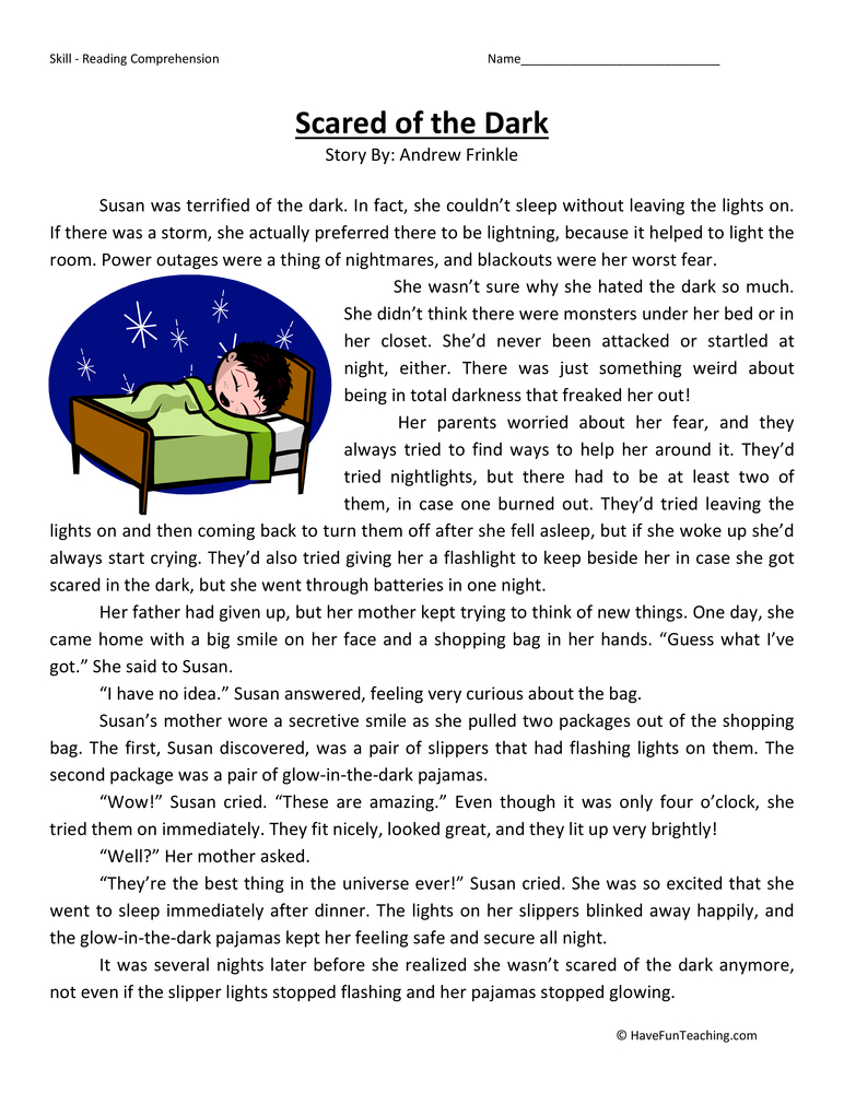 Scared Of The Dark Reading Prehension Worksheet