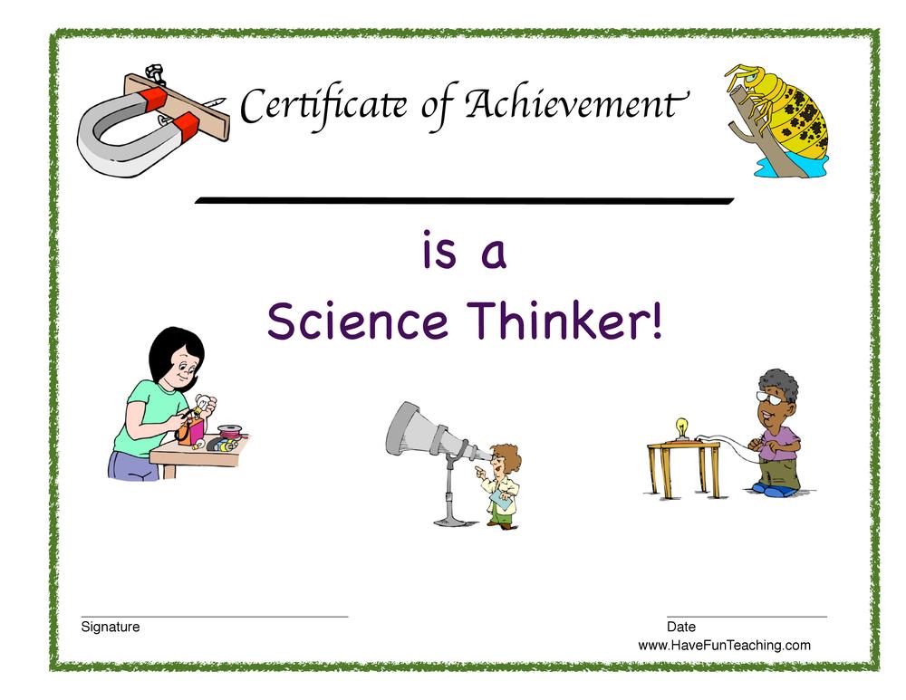 Science Thinker Reward Certificate