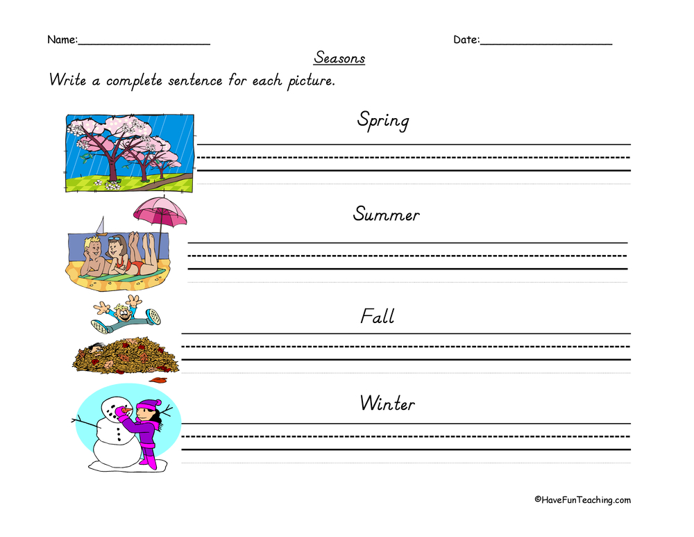 seasons of the year sentences worksheet have fun teaching. Black Bedroom Furniture Sets. Home Design Ideas