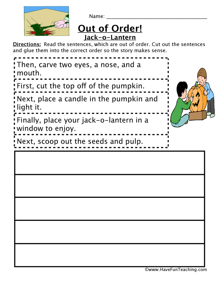 Carving A Pumpkin Sequencing Worksheet