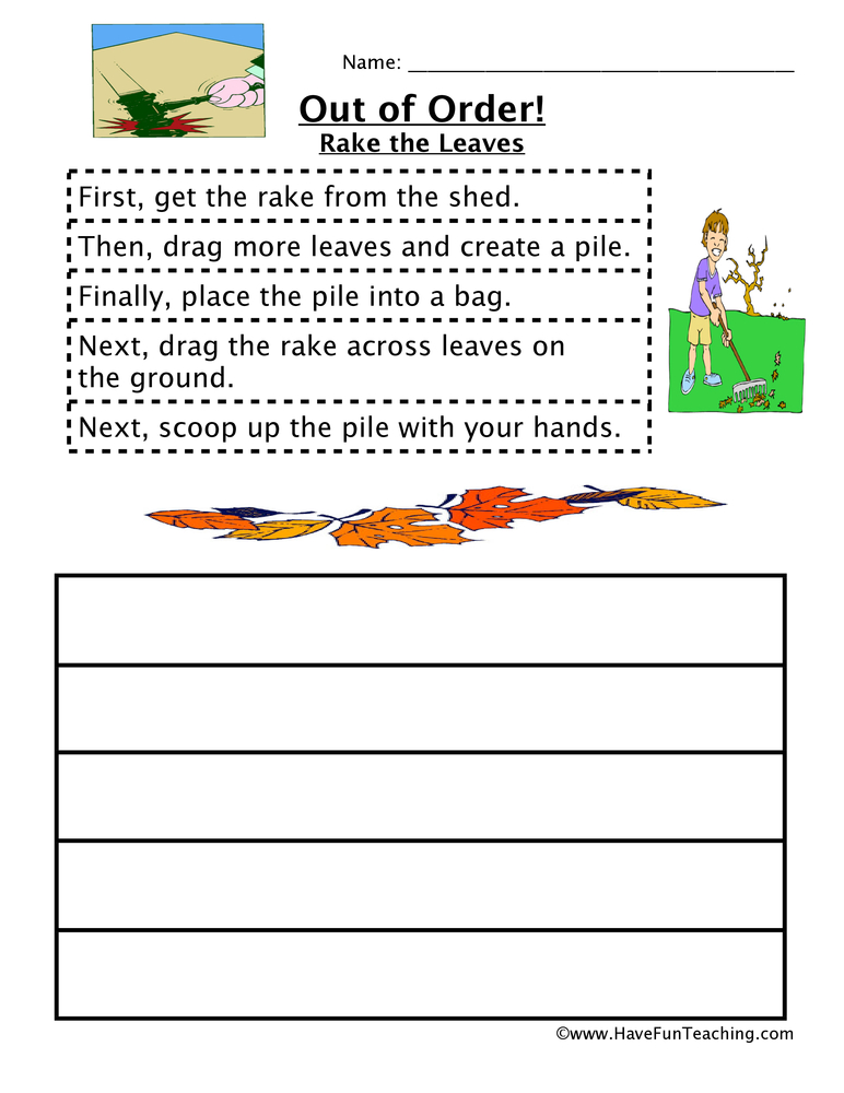 Sequencing Worksheet Raking The Leaves – Sequencing Worksheets for 3rd Grade