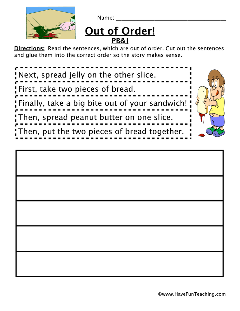 Making A Sandwich Sequencing Worksheet