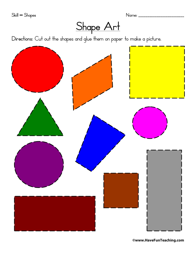 photo about Printable Shapes Worksheets called Form Artwork Worksheet Incorporate Exciting Training