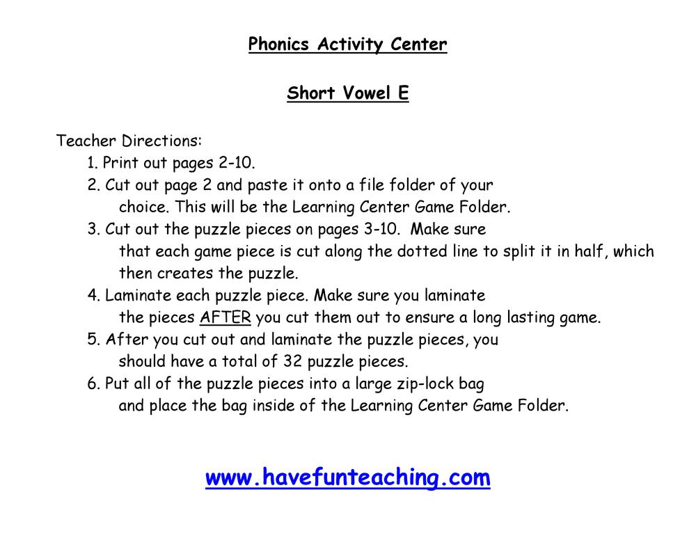 Short Vowel E Puzzle