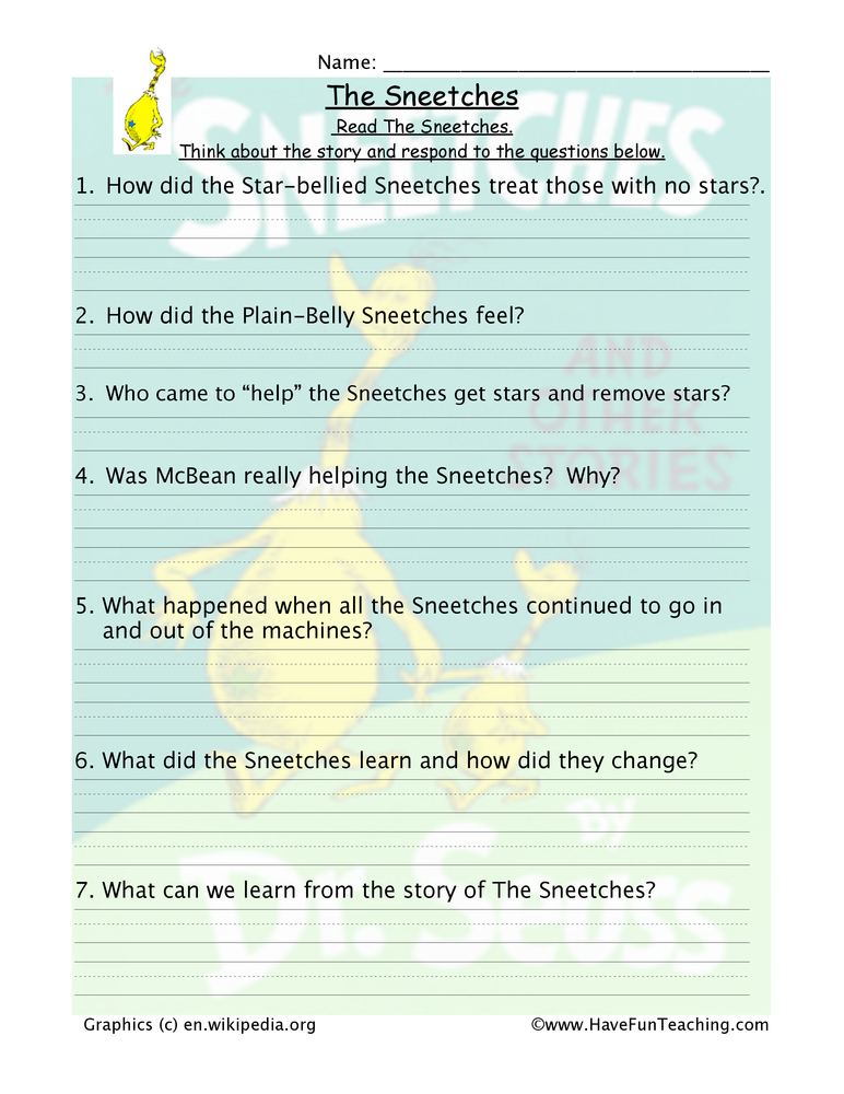 Sneetches Reading Comprehension Worksheet