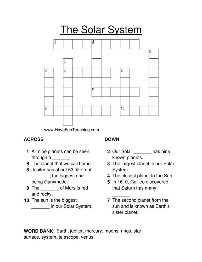 Solar System Crossword Puzzle