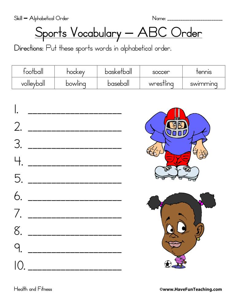 Worksheets Sports Worksheet sports worksheets have fun teaching alphabetical order worksheet