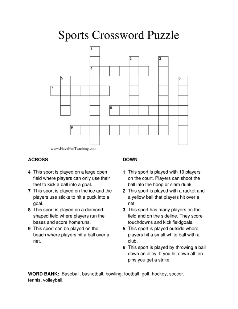 sports-crossword-puzzle
