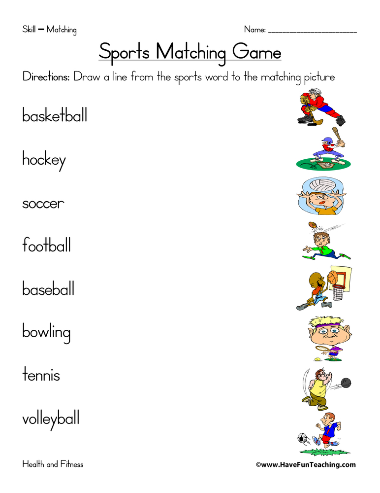 sports-matching-worksheet