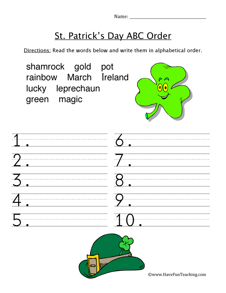 St. Patrick's Day ABC Order Worksheet