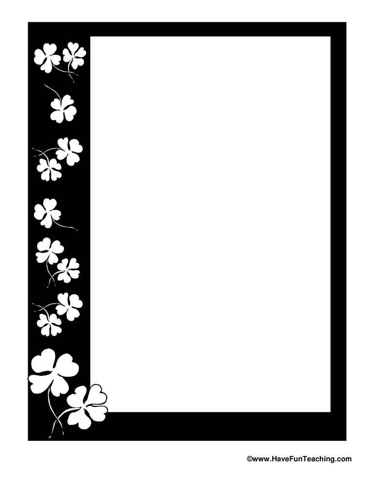 St. Patrick's Day BW Writing Paper