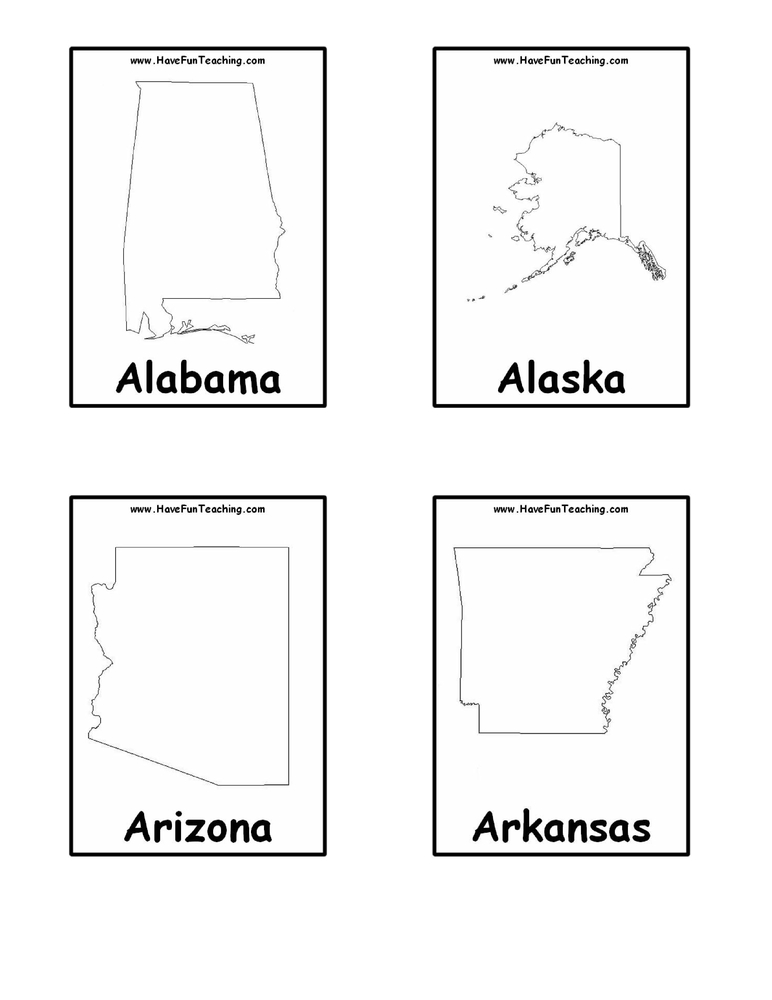 Striking image throughout state and capitals flash cards printable