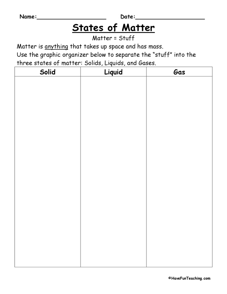Matter Worksheets | Have Fun Teaching