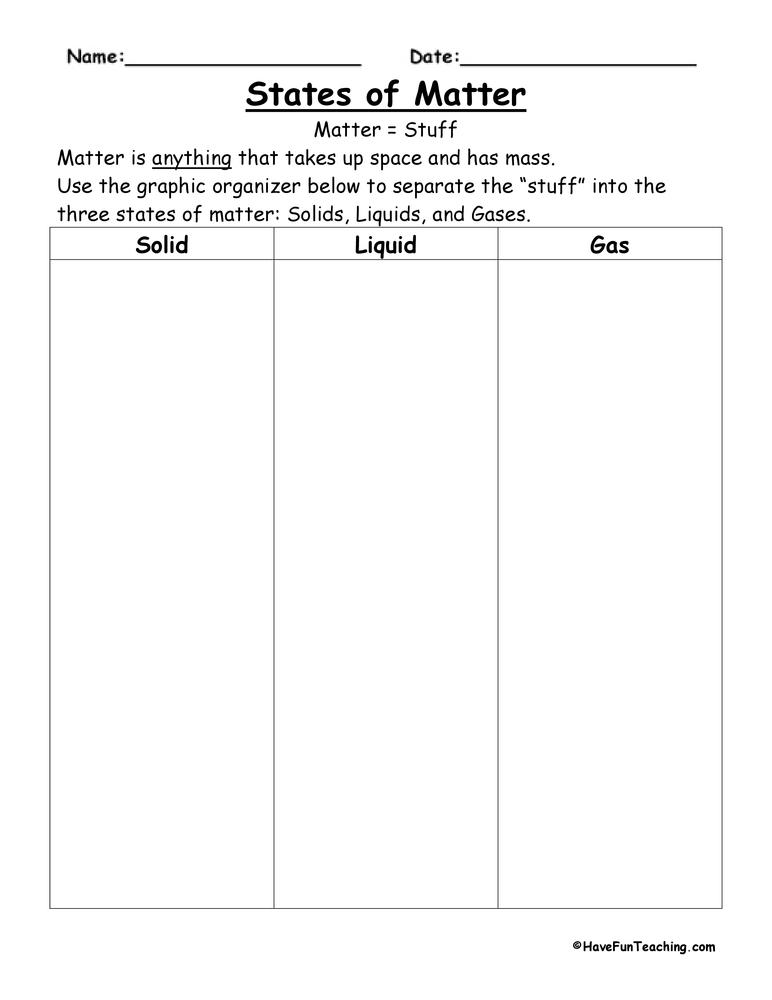 States of Matter Worksheets – Matter Worksheets