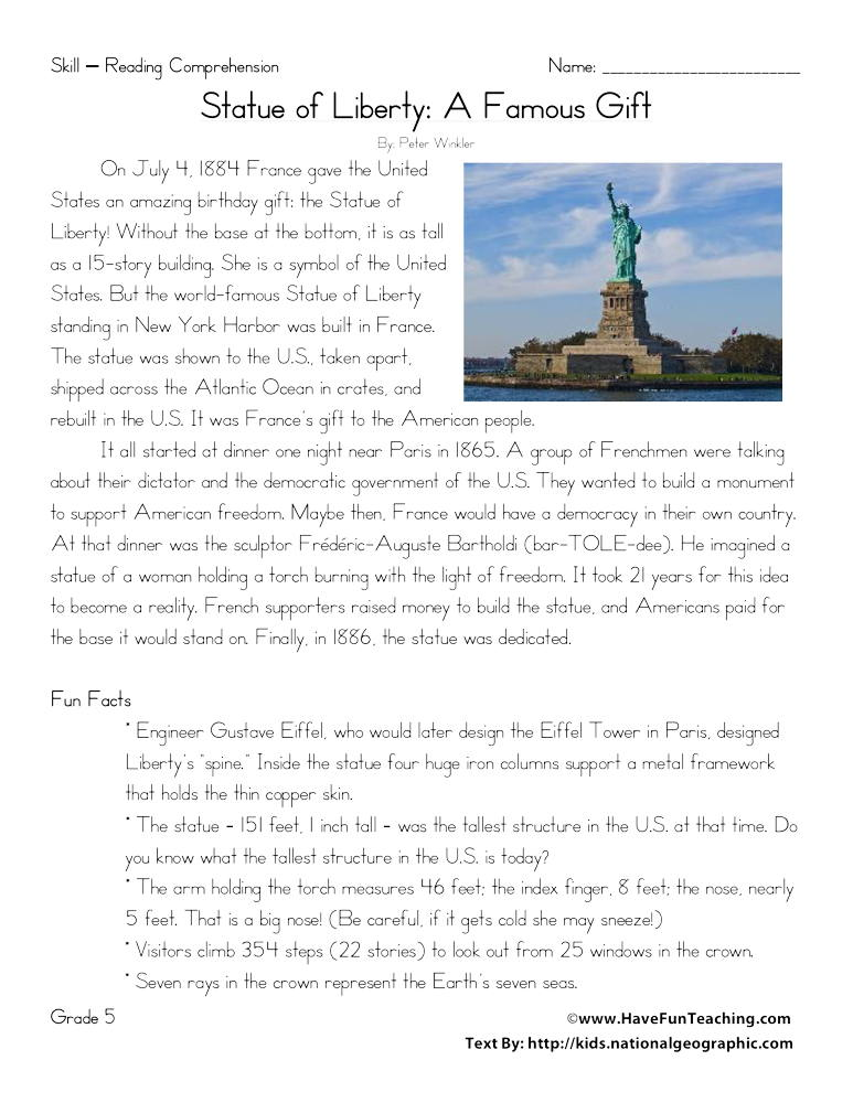 Statue of Liberty: A Famous Gift Reading Comprehension Worksheet