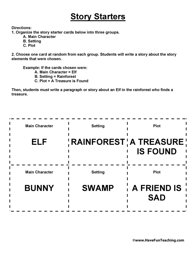 Printables Character And Setting Worksheets story starters have fun teaching starters