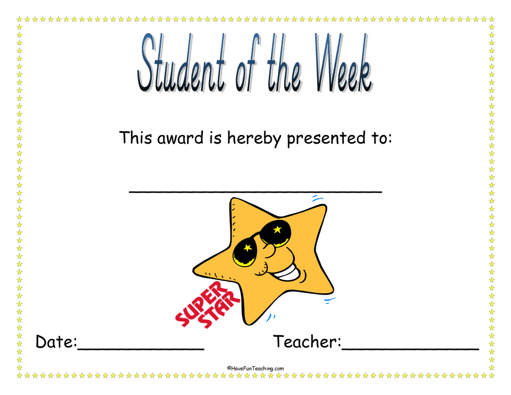 student-of-the-week-award