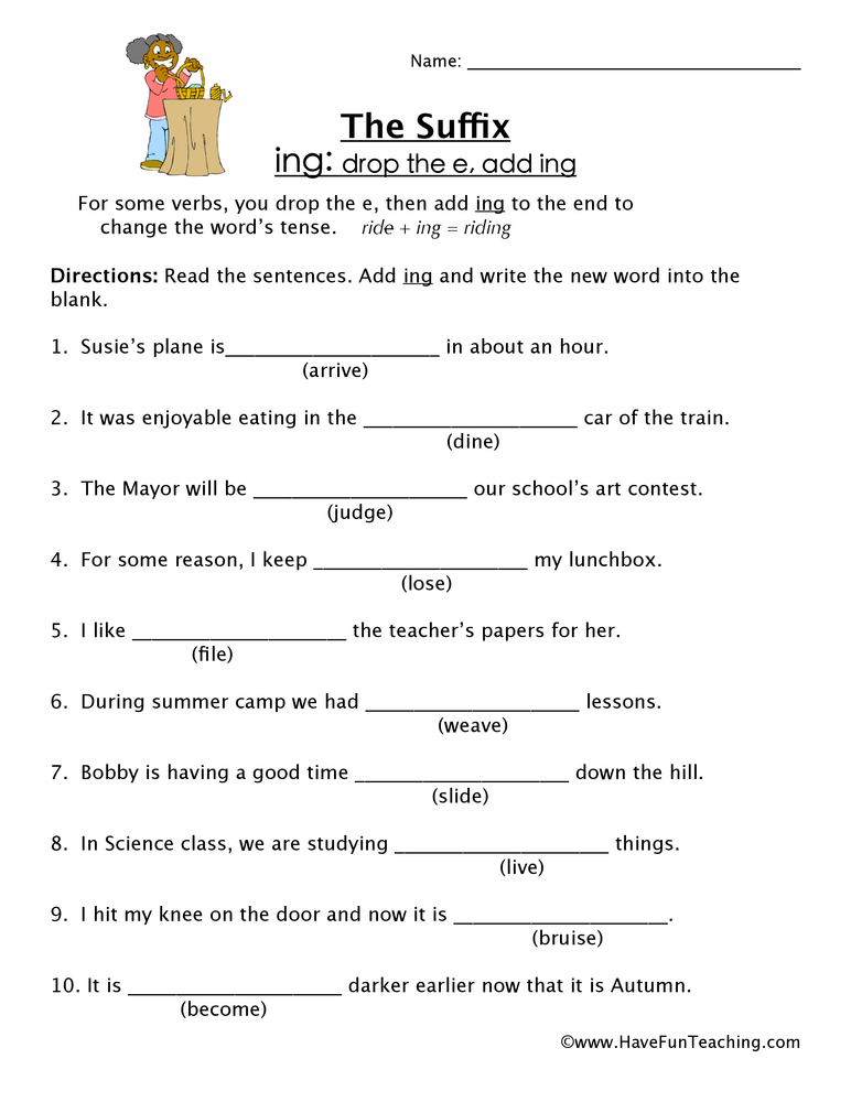Suffix Worksheet ING - Have Fun Teaching