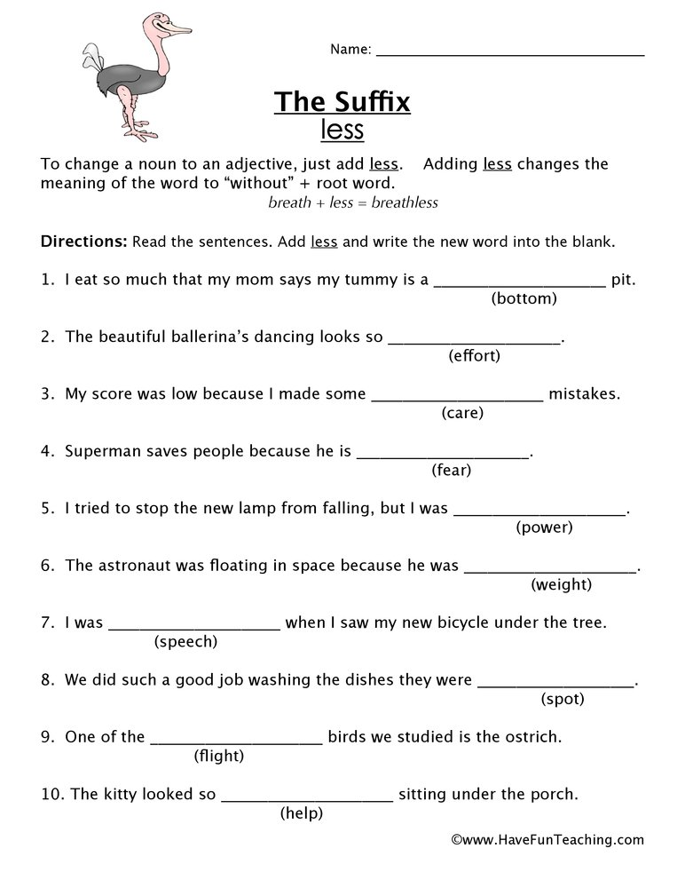 suffix-less-worksheet