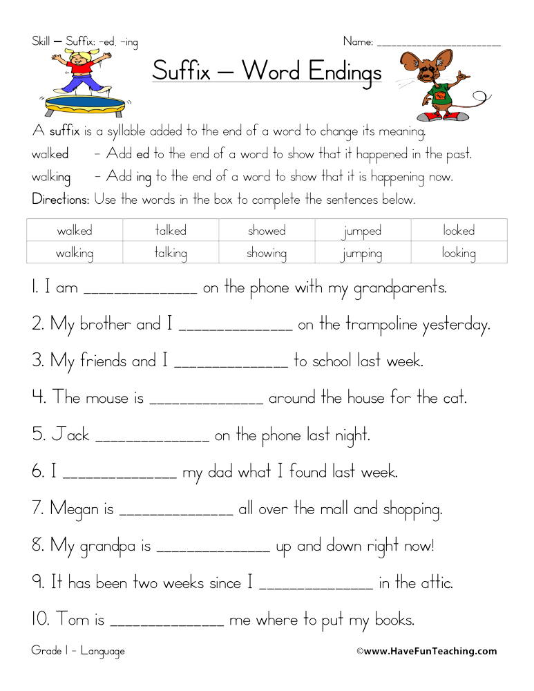 Suffix ED and ING Worksheet