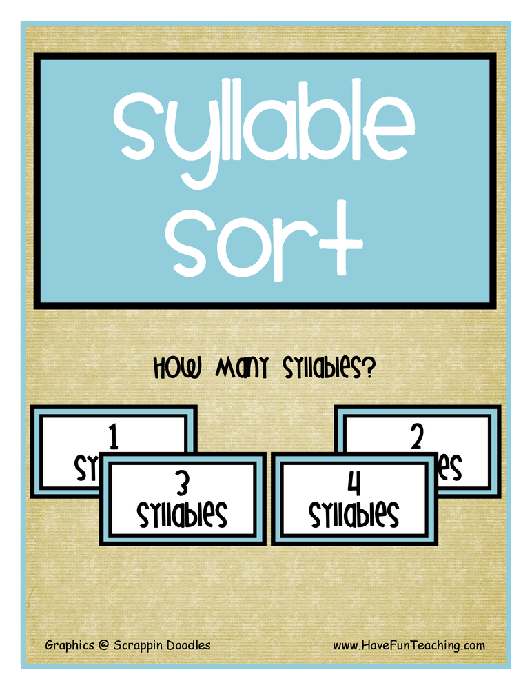 Syllable Sort Activity