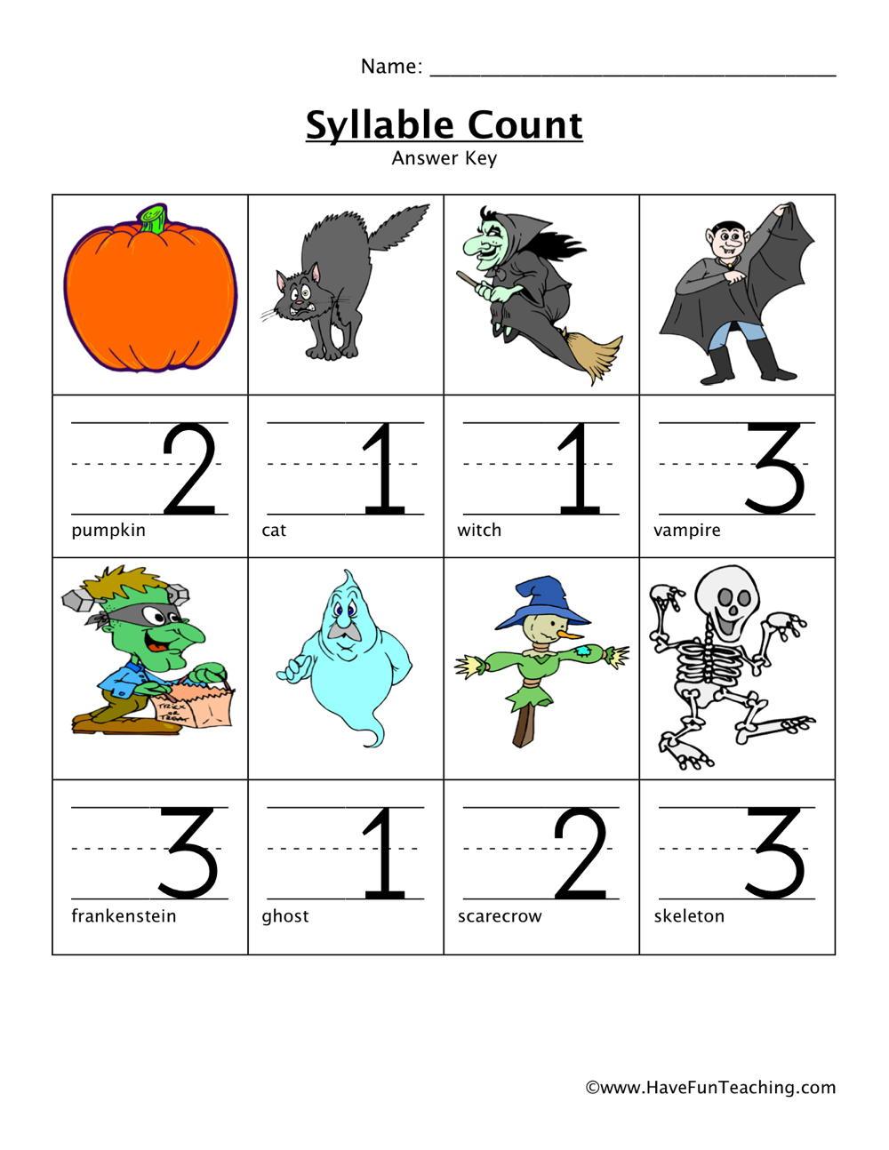 Worksheets Syllable Worksheet resource kindergarten syllable worksheet 8 11
