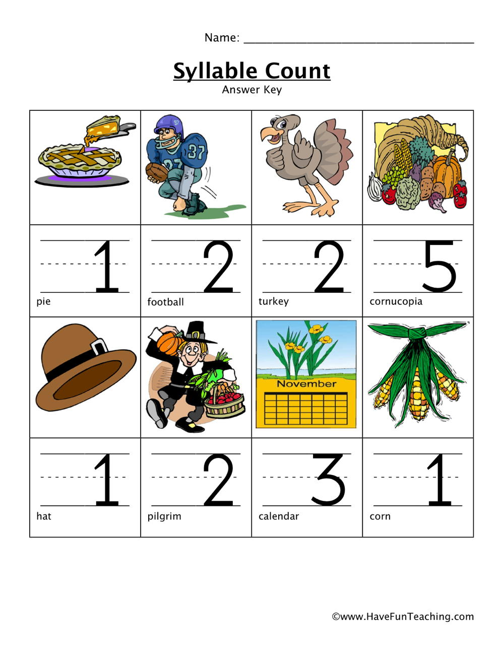 Thanksgiving Syllables Worksheet Have Fun Teaching