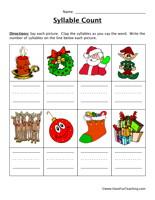 Christmas Syllable Worksheet