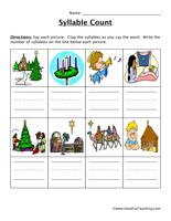 Religious Christmas Words Syllable Worksheet