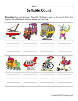 Transportation Syllable Count Worksheet