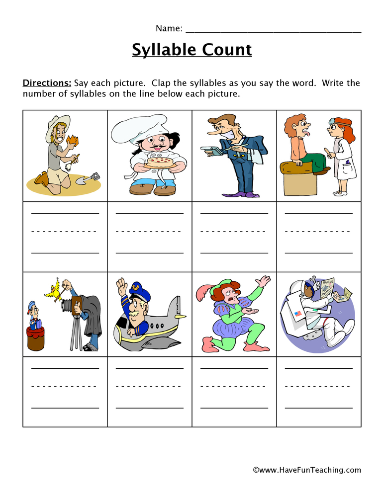 Syllable Worksheets Have Fun Teaching. Syllable Worksheet. Worksheet. Syllable Worksheet At Mspartners.co