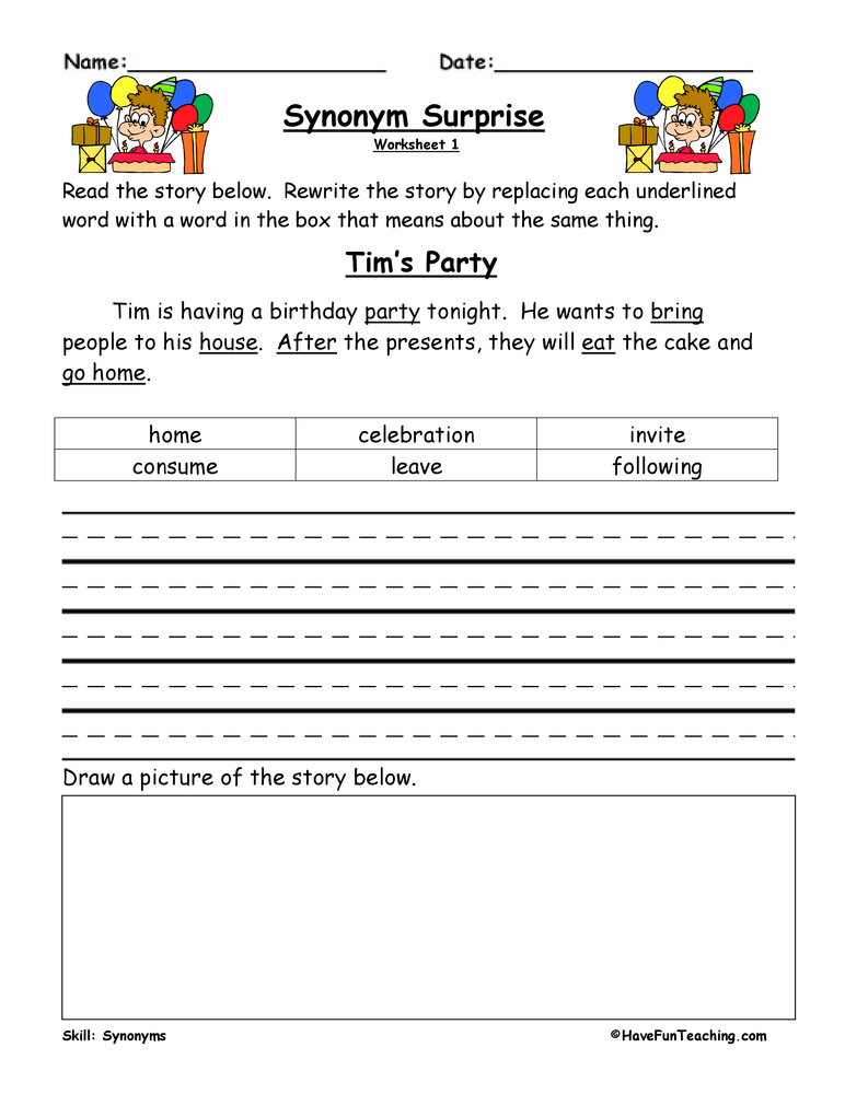 Synonym Worksheets | Have Fun Teaching
