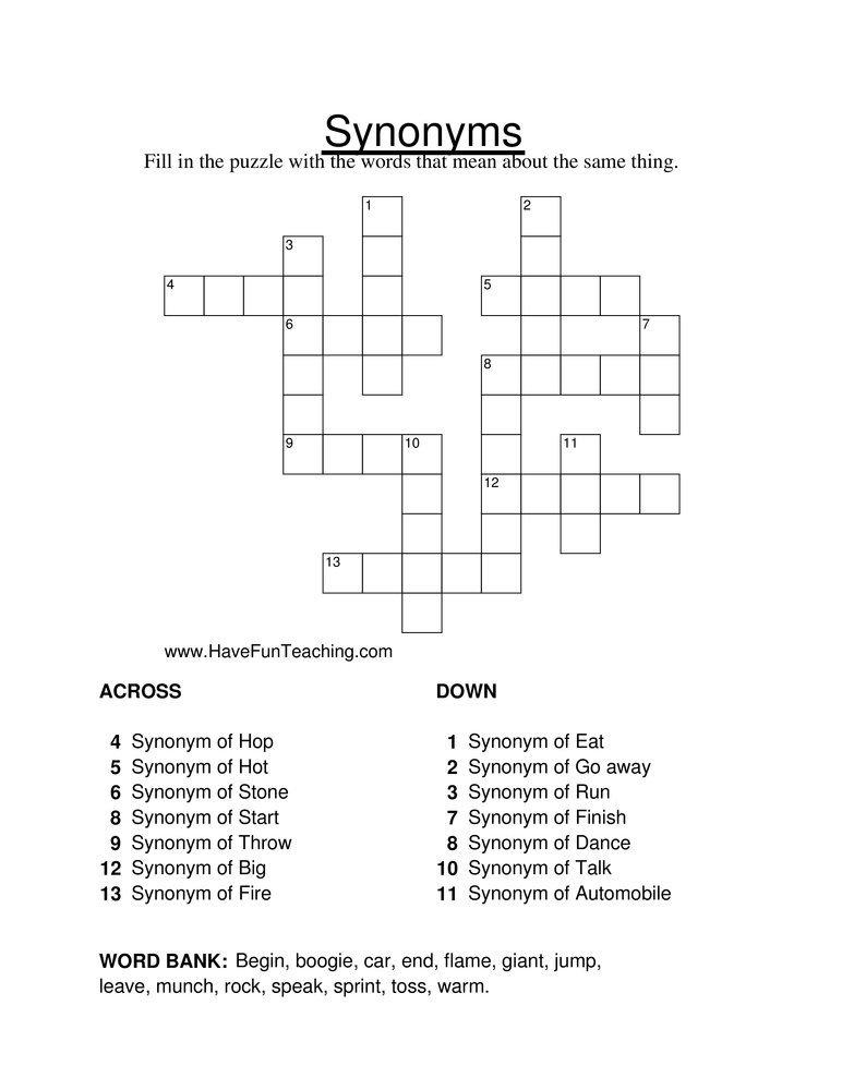 Synonym Crossword Puzzle Worksheet - Have Fun Teaching