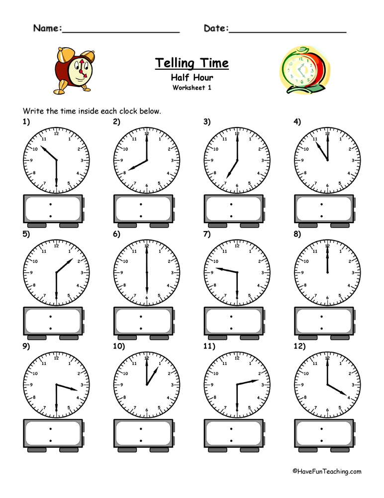 telling time worksheet to the half hour. Black Bedroom Furniture Sets. Home Design Ideas