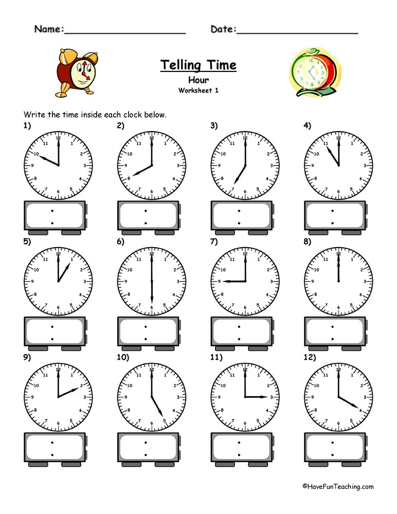 Telling Time Worksheet  To The Hour  Have Fun Teaching