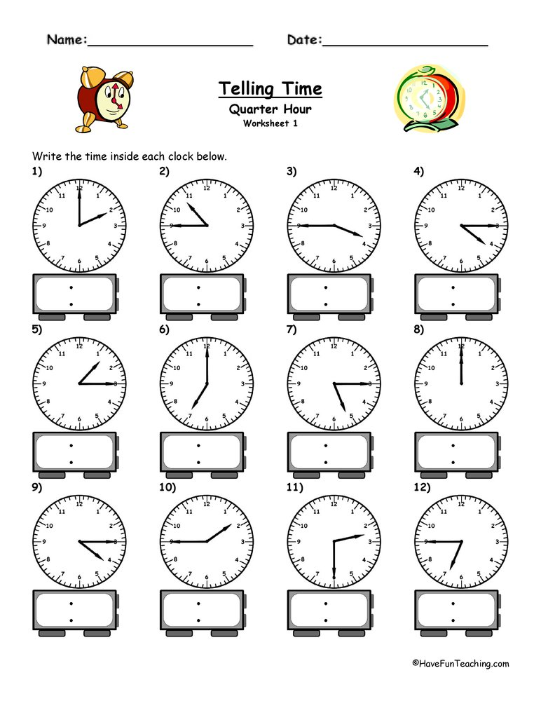math worksheet : telling time worksheet  to the quarter hour  have fun teaching : Math Time Worksheets