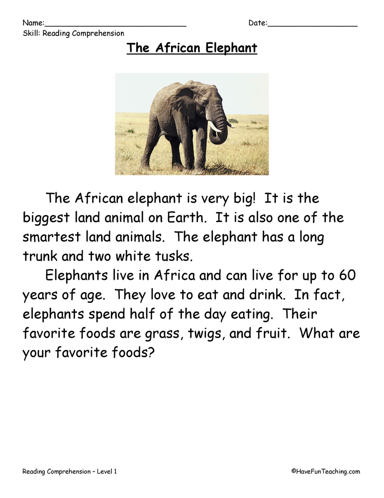 First Grade Reading Comprehension Worksheet - The African Elephant ...