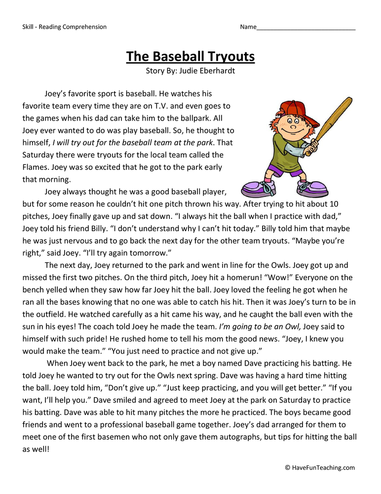 the baseball tryouts reading comprehension worksheet have fun teaching. Black Bedroom Furniture Sets. Home Design Ideas