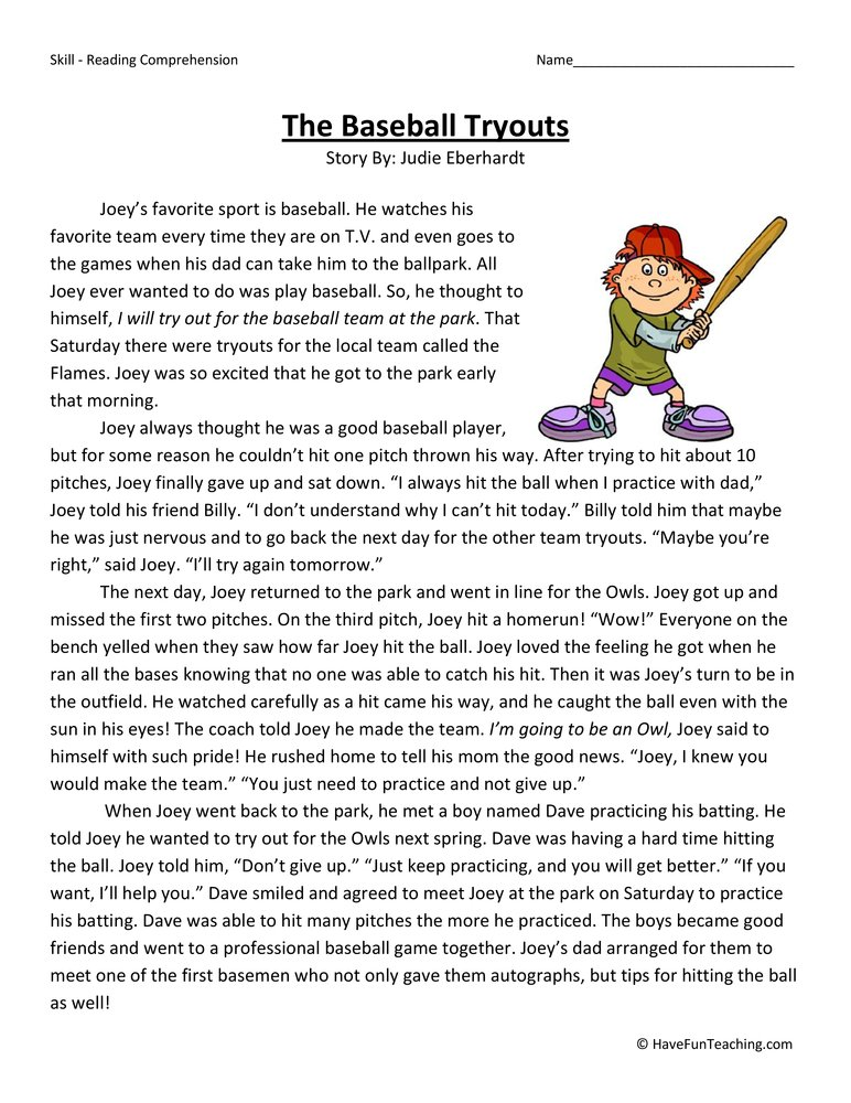 The Baseball Tryouts Reading Prehension Worksheet