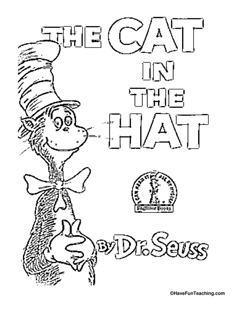 cat in the hat coloring page have fun teaching