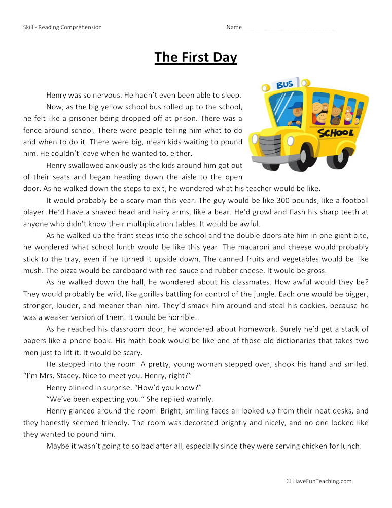 The First Day Reading Comprehension Worksheet
