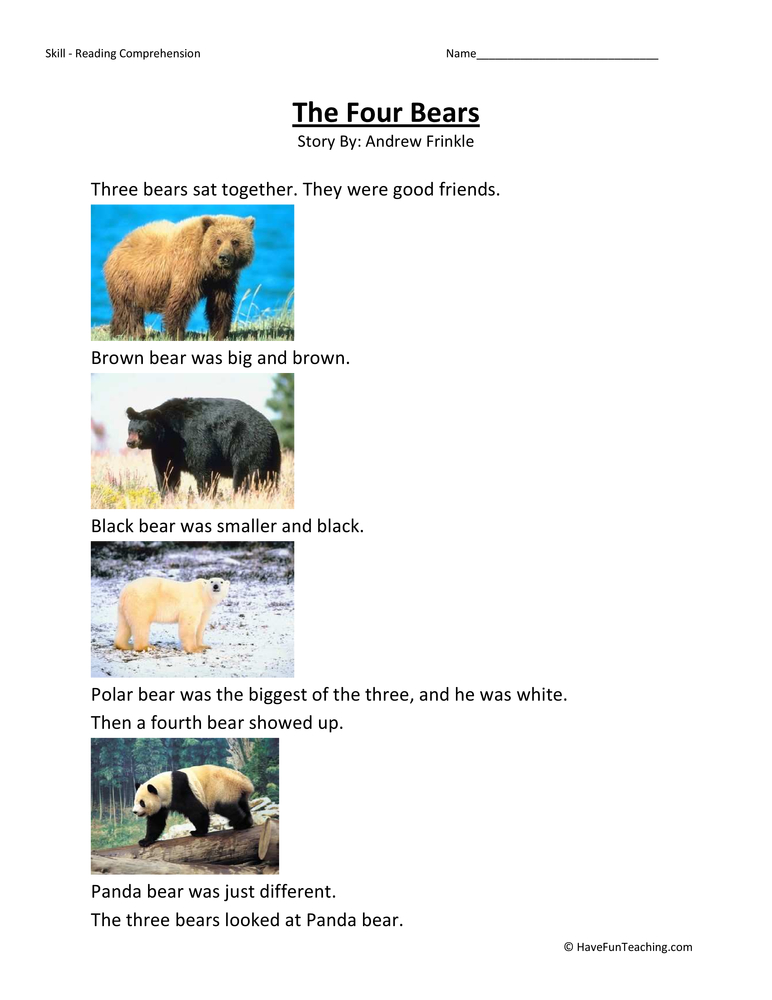 The Four Bears Reading Comprehension Worksheet