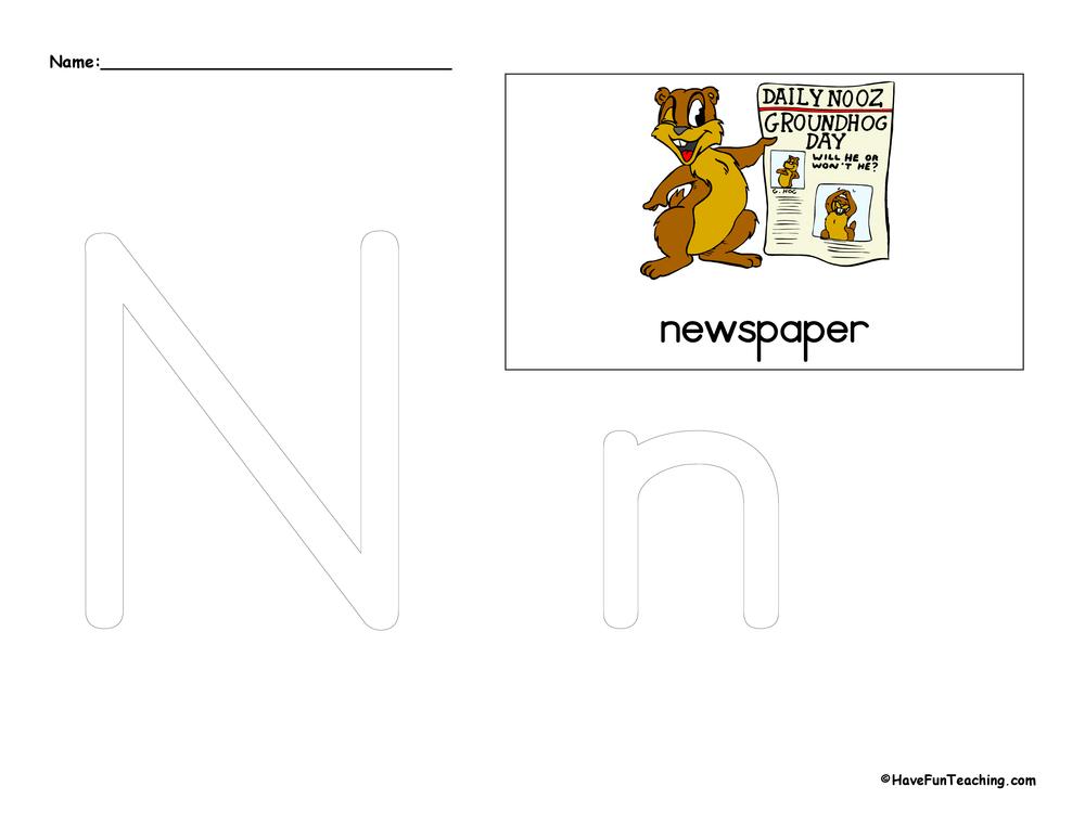 Letter N Tracing Worksheet Have Fun Teaching